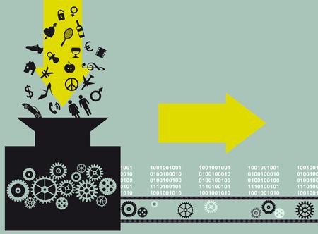 Ilustración conceptual de una máquina, convirtiendo símbolos surtidos de cosas e ideas en bloques de información, ilustración vectorial EPS 8