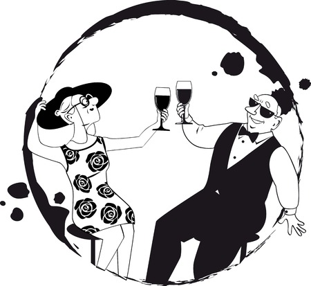 Senior couple enjoying wine at wine tasting or at happy hour, EPS 8 vector line illustration, only black color, no white objects