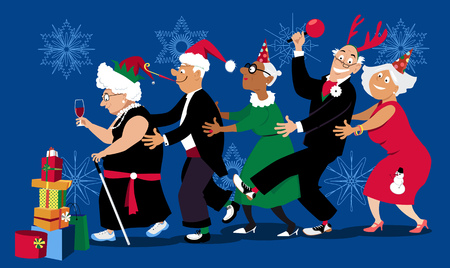Group of active seniors dancing conga line at Christmas or New Year party, EPS 8 vector illustration