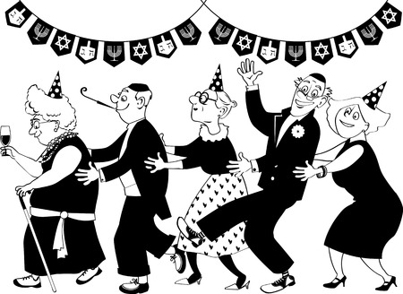 Group of active seniors dancing conga line at Hanukkah party, EPS 8 vector line art, no white objects, only black