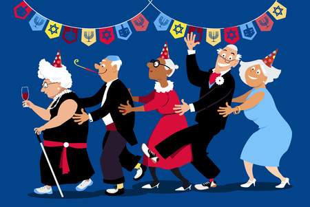 Group of active seniors dancing conga line at Hanukkah party, EPS 8 vector illustration Vettoriali