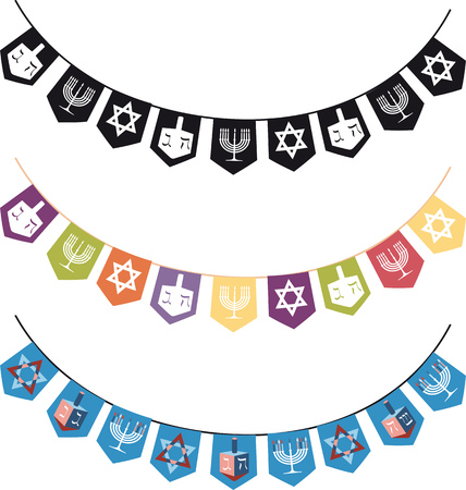 Hanukkah themed vector borders, EPS 8 Illustration