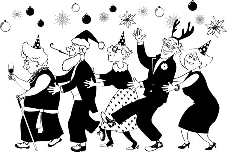 Group of active seniors dancing conga line at Christmas or New Year party, EPS 8 vector illustration, black outline, no white objects