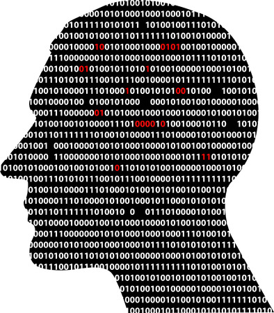 Male profile, filled with computer code, some digits missing, some colored red, EPS 8 vector illustration Çizim