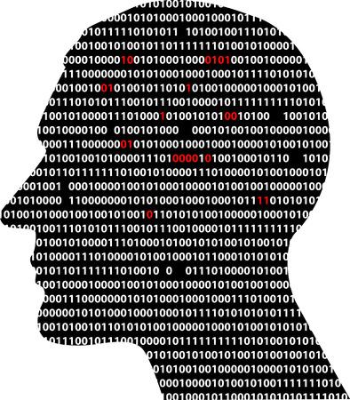 Profil masculin, rempli de code informatique, quelques chiffres manquants, certains rouge de couleur, illustration vectorielle EPS 8 Banque d'images - 86299632