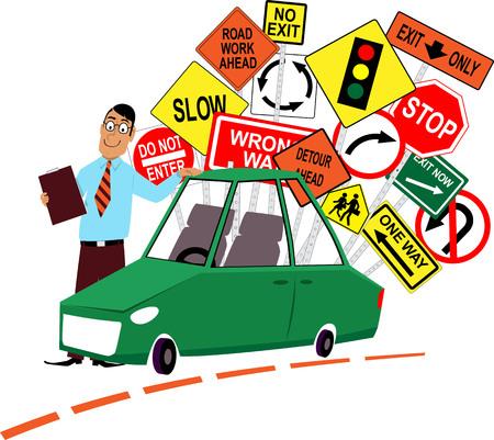 Instructor de la escuela de conducción de pie delante de un coche, señales de tráfico surtidas detrás de él, ilustración vectorial EPS 8