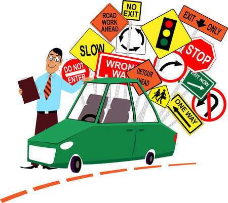 Driving school instructor standing in front of a car, assorted traffic signs behind him, EPS 8 vector illustration Illustration