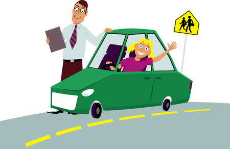 Teenage driving school student sitting in the car driving instructor standing next to him, EPS 8 vector illustration