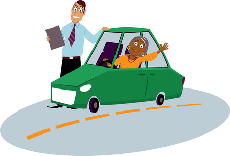 Mature immigrant woman driving school student sitting in the car driving instructor standing next to him, EPS 8 vector illustration Illustration