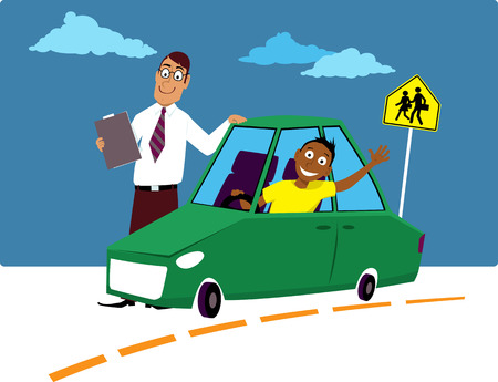 Teenage driving school student sitting in the car driving instructor standing next to him, EPS 8 vector illustration Vettoriali