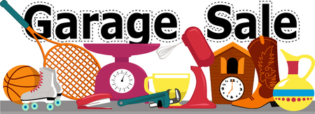 Garage sale banner with assorted household and sport items lying on a table, isolated on white, EPS 8 vector illustration, no transparencies