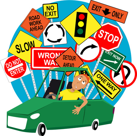 Teenage driving school student sitting in the car, road traffic signs behind him EPS 8 vector illustration