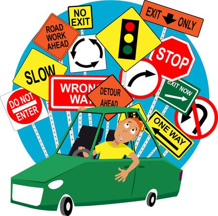 Nastoletnich studentów nauki jazdy siedzisz w samochodzie, znaki drogowe za nim EPS 8 ilustracji wektorowych