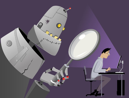 Giant robot with a magnifying glass standing behind the back of a man, working on his computer, EPS 8 vector illustration, no transparencies