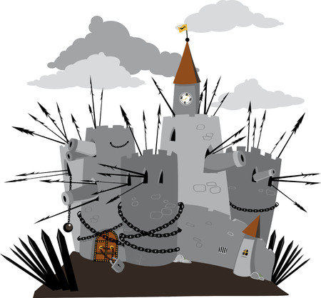 Heavily fortified cartoon fortress with locked gate, EPS 8 vector illustration