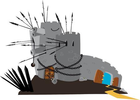 Zwaar versterkte kasteel met een brede open en onbeschermde achterdeurillustratie.