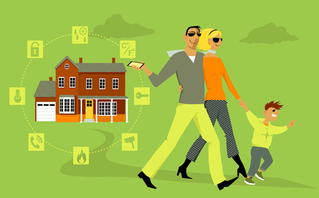 Family going out, a man arming a home security system on his way, using his smartphone, EPS 8 vector illustration, no transparencies