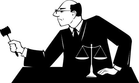 Männliche Richter mit einem Hammer führt über gerichtliche Verfahren, EPS 8 Vektor-Silhouette, keine weißen Objekte Standard-Bild - 86968554