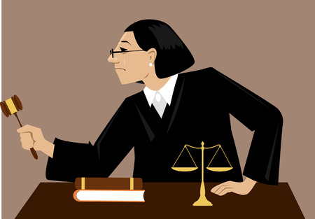 Female judge with a gavel presides over court proceeding, EPS 8 vector illustration