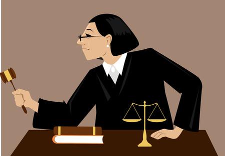 Vrouwelijke rechter met een hamer zit rechtbank procedure, EPS-8 vectorillustratie Stock Illustratie