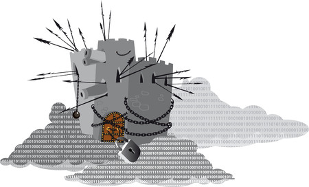 Heavily armed fortress protecting a digital cloud filled with computer code, EPS 8 vector illustration