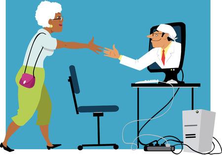 Mulher negra madura apertando as mãos com um médico, saindo de um monitor de computador, EPS 8 ilustração vetorial