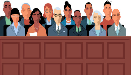 12 jurors sit in a jury box at a court trial illustration.