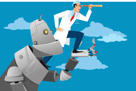 Robot helping a doctor looking forward