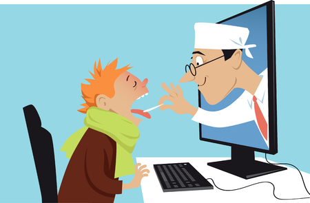 Een arts die uit een computer komt en een zieke jongen, EPS 8 vectorillustratie onderzoekt