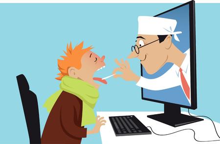 Ein Doktor, der aus einen Computer herauskommt und einen kranken Jungen, Vektorillustration ENV 8 überprüft