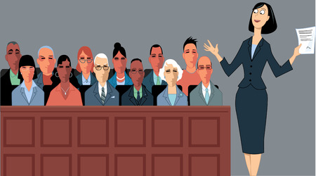 Female attorney address the jury