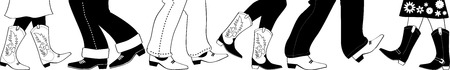 Black nd white silhouette with country dancers feet in cowboy boots. Stock Illustratie