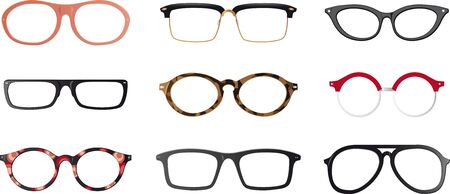 Set of realistic eyeglasses frames.