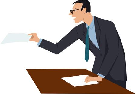Rechtsanwalt, der bei der Verhandlung argumentiert und Dokumente zeigt. Standard-Bild - 87944431