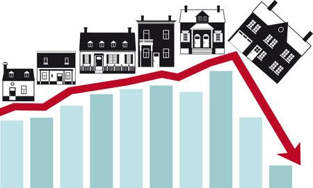 Housing market collapse, conceptual vector illustration.  イラスト・ベクター素材
