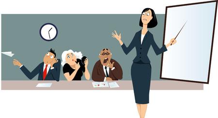 Businesswoman dając prezentacji przed znudzonym rozproszonych kolegów. Ilustracje wektorowe
