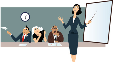 Businesswoman giving a presentation in front of a bored distracted colleagues. Stock Vector - 87944433