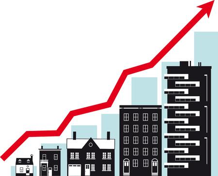 Housing market growth, conceptual vector illustration. Vektorové ilustrace