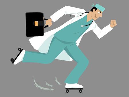 ローラー スケートが患者に急いで医師。  イラスト・ベクター素材