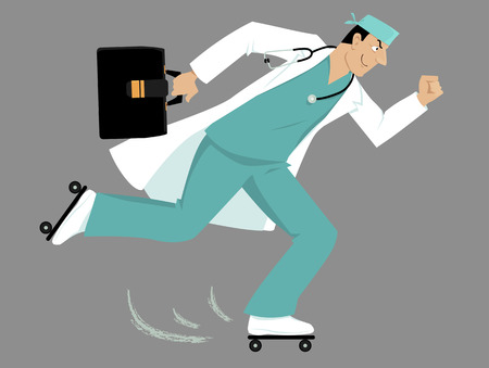 Doctor on roller skates rushing to a patient. Illustration