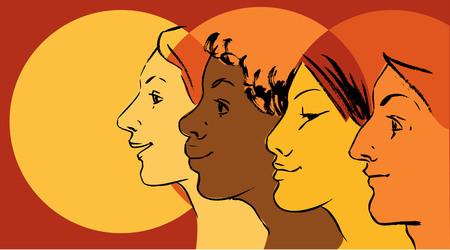 Perfiles femeninos de diferentes etnias como símbolo del movimiento de empoderamiento de las mujeres. Ilustración de vector
