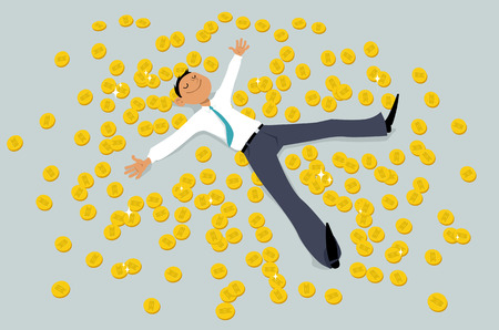 Person lying in bitcoin looking golden coins, EPS 8 vector illustration Imagens - 89626847