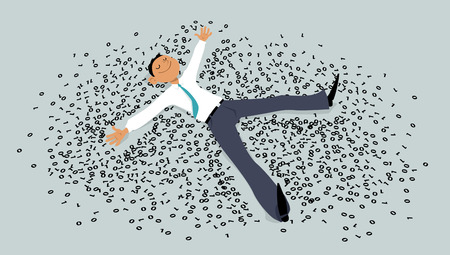 Man making a snow angel in a pile of computer code, EPS 8 vector illustration