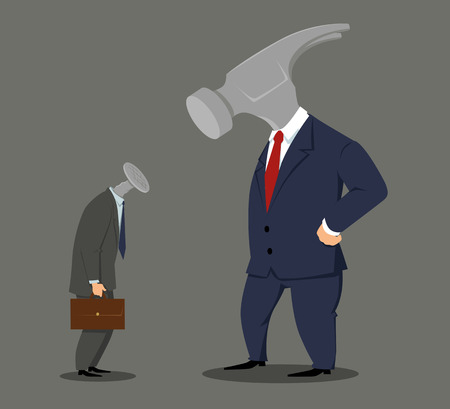 Boss hammer looking at a nail employee, EPS 8 vector illustration