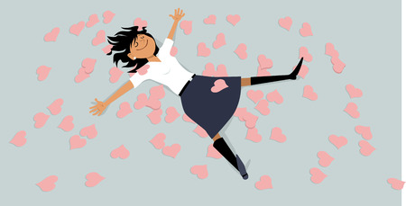 Happy girl lying on a floor, covered with hearts, EPS 8 vector illustration