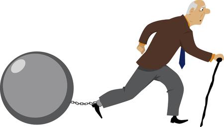 Oude mens die, een bal lopen die aan zijn been wordt gekoppeld als metafoor voor schuld of andere problemen, EPS 8 vectorillustratie