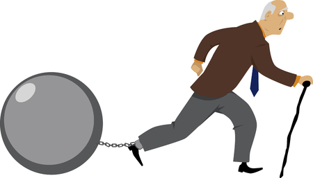Old man walking, pulling a ball chained to his leg as a metaphor for debt or other problems, EPS 8 vector illustration