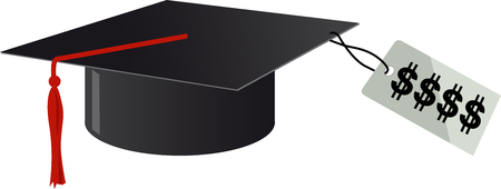 University graduation cap with a high price tag attached, EPS 8 vector illustration