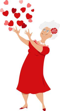 Mujer madura en un vestido rojo tirando corazones en el aire. Foto de archivo - 89214579
