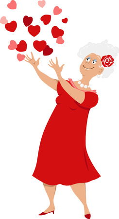Mature woman in a red dress throwing hearts into the air.